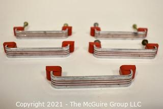 Lot of (6) Vintage Mid Century Art Deco Chrome and Red Bakelite Drawer Pulls.