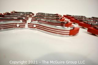 Lot of (20) Vintage Mid Century Art Deco Chrome and Red Bakelite Drawer Pulls.