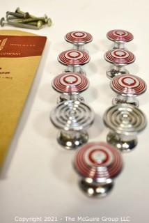 NOS Vintage Bright Chromium Plated Knobs with Red Detail, made by National Lock Company