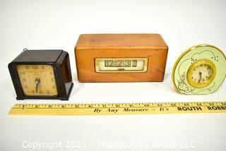 Three (3) Vintage Clocks Including Westclox & Numechron Tymeter.