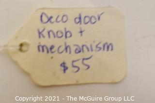 Art Deco Locking Mechanism with Red Handle Door Knob.