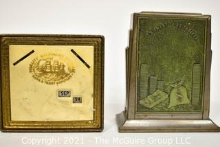 Two Vintage Promotional Advertising Coin Saving Banks