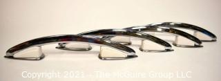 Mid Century Chrome and White Bakelite Handles or Cabinet Pulls