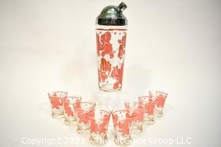 Vintage Mid-Century Pink Elephant Cocktail Set - Includes Chrome and Glass Cocktail Shaker with Eight (8) Matching Tumblers.