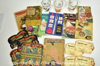 Eclectic Group of Vintage Cooking Books, Glassware & Needle Folders.