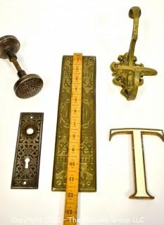 Group of Vintage Decorative Items Including Brass Wall Hook, the Letter T, Push Door Plate and Door Knob Set.