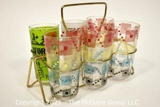 Vintage Mid Century Glass Ware or Tumblers in Wire Carrier.