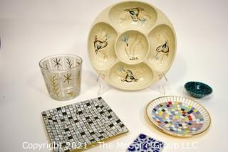Group of Mid Century Serving Items Including Redwing Dip Tray, Mosaic Trivet, etc