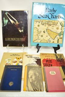 """Books: Eclectic Collection including """"Peter, Paul and Mary"""", """"Pete Seeger"""", """"Early Sea Charts"""", """"The Death of the Moth"""" by Virginia Wolf"""