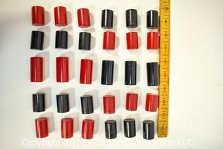 25 Vintage Black & Red Bakelite Drawer Pulls or Knobs. Various Sizes.