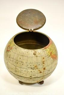 Antique English Huntley & Palmers Figural World Globe Advertising Biscuit Tin