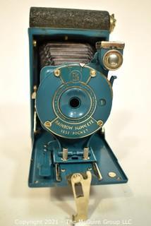 Teal Blue Rainbow Hawkeye Vest Pocket Folding Kodak Camera.
