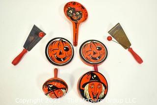 Group of Eight (8) Vintage Metal Halloween Noisemakers.