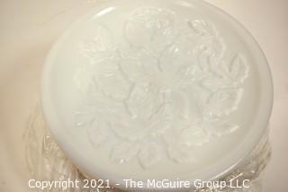 Vintage Ornate Milk Glass Pedestal Candy Jar with Lid