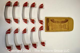 Lot of 10 Vintage Mid Century Art Deco Chrome and Red Bakelite Drawer Pulls.
