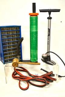 Assortment including manual air pump, metal screw chest, 14' heavy duty jumper cables and a stretch wrap dispenser