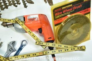 Assortment of tools including electric drill and Set of Wooden Auger Bits