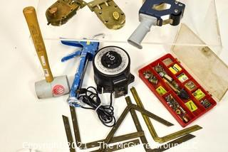 Assortment of tools including (2) Keil Dead Bolt Door Locks, Fuses, Rubber Mallet, 5 Vintage Brass Framing Supports and an electric current converter