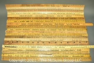 Collection of Vintage Wooden Advertising or Promotional Yardsticks Rulers