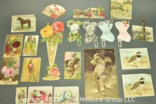 Collection of Vintage Color Lithograph Trade Cards Featuring Women and Children.  Includes Soap,Cologne Shoe Makers etc.