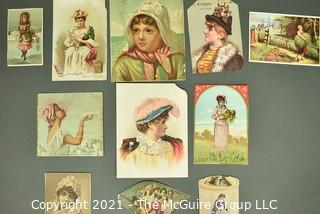 Collection of Vintage Color Lithograph Trade Cards Featuring Women and Children.  Includes food, textiles and spectackles