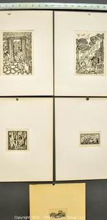 Set of Five Unframed Pencil Signed Limited Edition Woodcuts By Martin Silverman of Jerusalem.