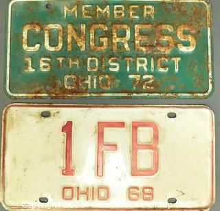 Two (2) Vintage Ohio Licenses Plates, One for Member of Congress.