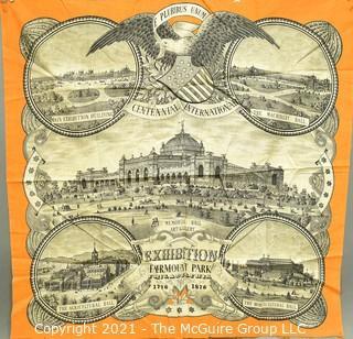 "1876 Centennial International Exhibition, Fairmont Park Philidelphia Wool Souvenir Scarf.  Measures 26"" Square. Some fraying to edge."