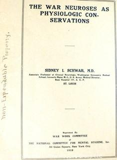 """Book: The War Neuroses As Physiologic Conservations"""", 1919"""