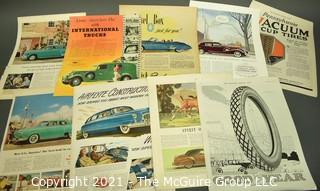 Collection of Vintage Color Loose Page Magazine Advertisements - 1950's Cars