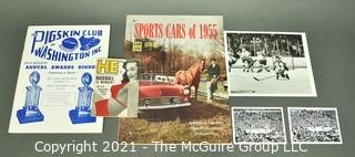 Vintage Sports Ephemera and Photos including Boxing, Sports Cars of 1955 and Awards Dinner Brochure of The Pigskin Club