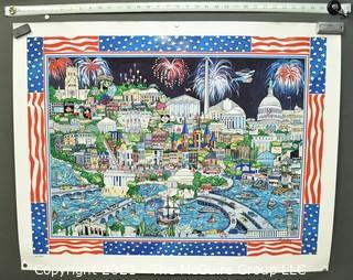 """Numbered Color Print of Illustration of Washington DC Under Fireworks.  Measures 30 x 36"""""""