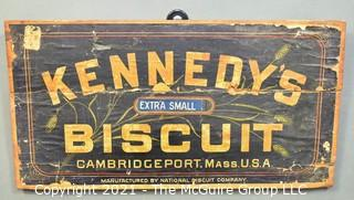"""Antique 19th Century Kennedy's Newton National Biscuit Co. Wooden Crate Wall Plaque. Measures 10"""" x 21""""."""