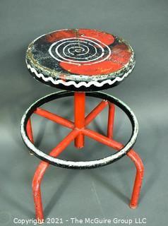 Vintage Artisan Painted Industrial Adjustable Pedestal Metal Stool.