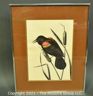 """Framed Under Glass Print Entitled """"Redwing"""" Signed and Numbered by Artist, Jo Dye. Measures 16"""" x 20""""."""
