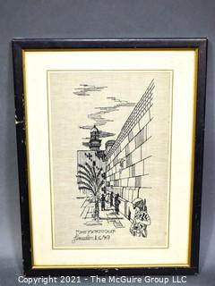 """Vintage Framed Embroidered Art of The Wailing Wall, Produced By Lace And Embroidery Works In Jerusalem In 1967.  Measures 20 1/2"""" H X 26"""" W"""