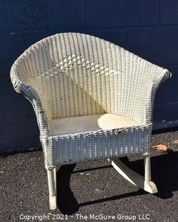 Vintage White Painted Childs Wicker Rocking Chair.