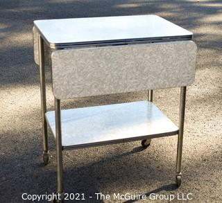 """Vintage Mid Century Grey Marbled Formica Top Drop Leaf Table with Chrome Trim. 33"""" wide when leaves up, 30"""" tall."""