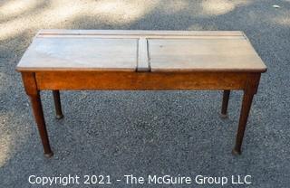 """Antique Primitive Double Sided School Desk. 16"""" x 18"""" x 36""""."""