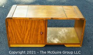 """Vintage Art Deco Inlaid Top Coffee Table with Cocktail Bar Door Cabinet.  Measures 17"""" x 17"""" x 35""""."""