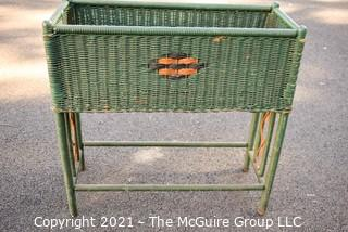 """Vintage Green Painted Wicker Planter Stand.  Measures 11"""" x 28"""" x 28""""."""