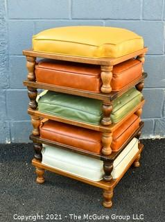 """Set of Five (5) Mid-Century Modern Asian Style Stackable Stools with Leather Upholstery Made by Ethan Allen. Each stool measures 8""""H x 17ʺW × 17ʺD."""
