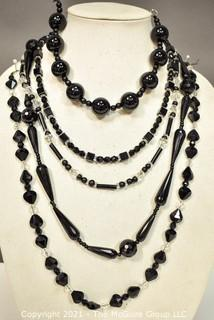 Five (5) Strands of Mixed Beads Including Black Onyx and Faceted Crystal Glass.
