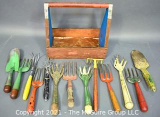 Collection of Vintage Gardening Tools in Bright Colors with Primitive Hand Made Wood Carrier.