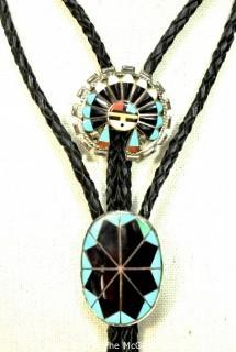 Two (2) Vintage Sterling Silver Native American Inlaid Gemstone Bolo Ties.  Unmarked Silver.