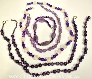 """Four (4) Strands of Amethyst Beads, Various Lengths Between 24"""" and 13""""."""