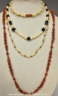 Four (4) Strands of Mixed Red Jasper and Bone Beads.