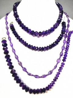 Four (4) Strands of Faceted Amethyst Beads.