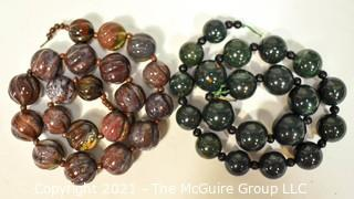 """Two (2) Large Agate Bead Strands.  They measure 16"""" & 17""""."""