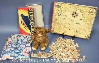 Group of Vintage Toys and Games.  Includes 1930's Knickerbocker Brown Mohair Teddy Bear, Transatlantic Board Game, Empty Scrapbook with Total War Battle Map Covers By Chase, Ernest Dudley & Scrabble Wood Game Pieces.